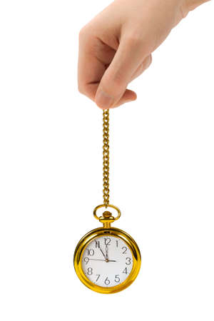Hand with retro watch and chain isolated on white background Stock Photo