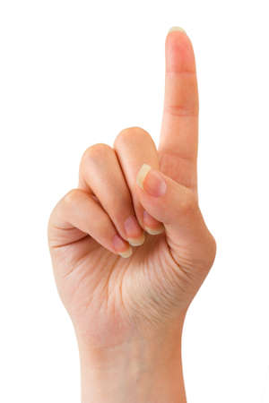 index: Woman index finger isoalted on white background