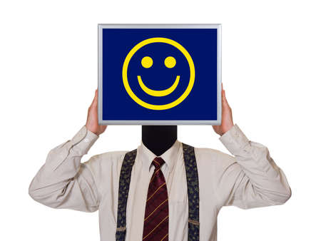 lucky man: Businessman with smile computer screen isolated on white background