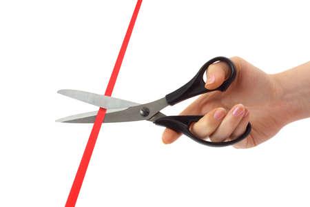 roped: Mano con tijeras y cinta aisladas sobre fondo blanco