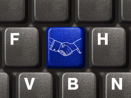 Computer keyboard with handshake button, business concept Stock Photo - 3485247