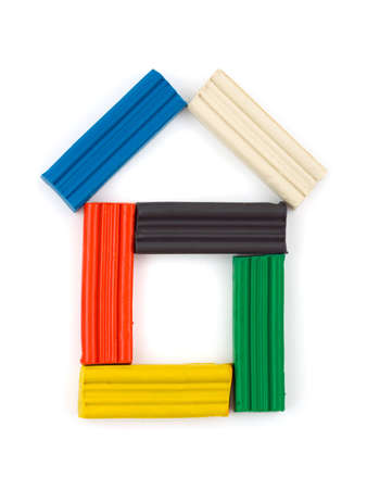 playdoh: House made of multicolored playdough isolated on white background Stock Photo