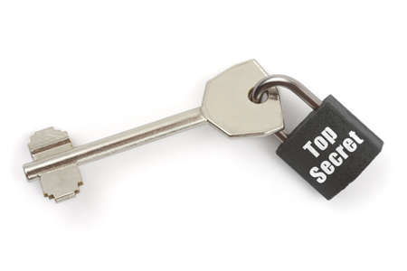 Key and lock Top Secret isolated on white background Stock Photo - 3511462