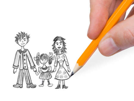 Hand drawing happy family isolated on white background photo