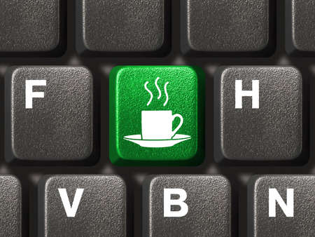 Computer keyboard with coffee key, business concept Stock Photo - 3529365