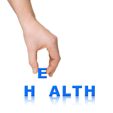 Hand and word Health isolated on white background Stock Photo - 3544280