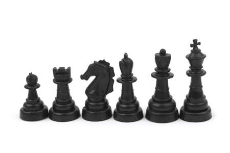 Black chess pieces isolated on white background photo