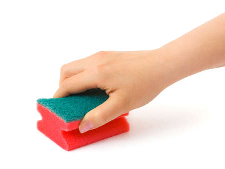 Hand with cleaning sponge isolated on white background photo