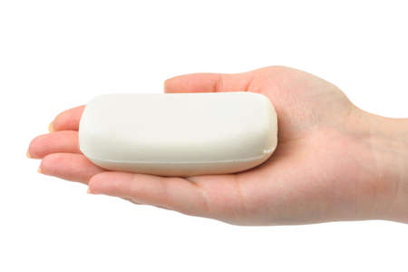 Soap in hand isolated on white background Stock Photo
