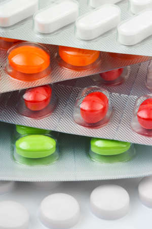Packs of pills, abstract medical background Stock Photo
