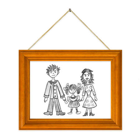 Picture Happy  in frame isolated on white background photo