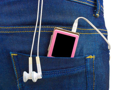 MP3 player in jeans pocket isolated on white background photo