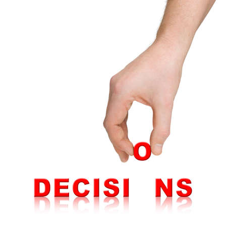 Hand and word Decisions, business concept, isolated on white background Stock Photo - 3671841