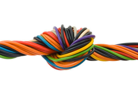 Computer cable with knot isolated on white background photo