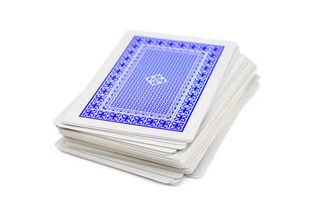 stack of business cards: Deck of playing cards, isolated on white background