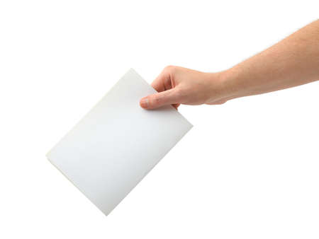 wooden insert: Hand with ballot isolated on white background