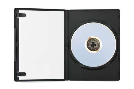 Computer dvd disk in case and empty paper isolated on white background photo