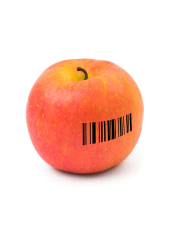 Apple with barcode isolated on white background photo