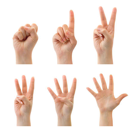 counting: Counting woman hands (0 to 5) isolated on white background Stock Photo