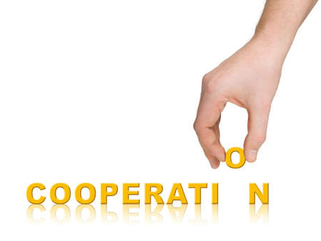 Hand and word Cooperation, business concept, isolated on white background Stock Photo - 3762325