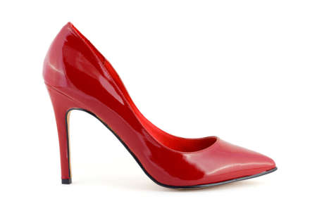 Red women shoe isolated on white background photo