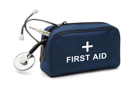 first aid box: First aid kit isolated on white background Stock Photo