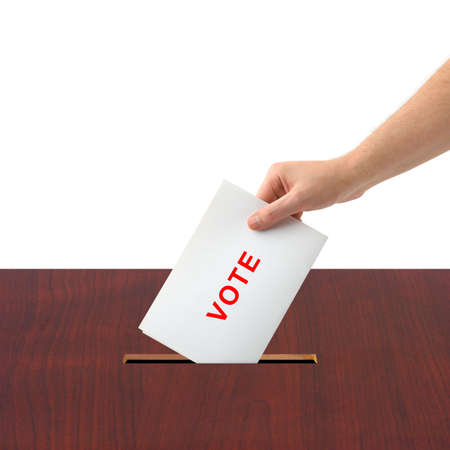 Hand with ballot and box isolated on white background Stock Photo - 3794441