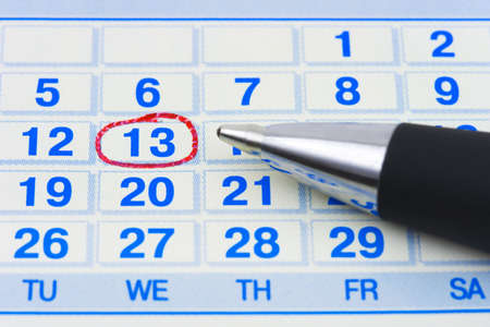 working week: Pen and calendar, abstract business background