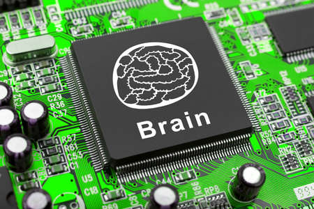 Brain symbol on computer chip, technology concept photo