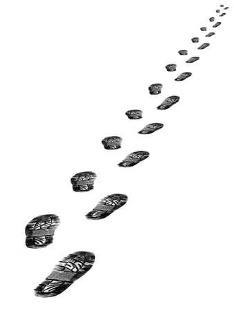Spuren von Schuhen isoliert auf wei�em Hintergrund