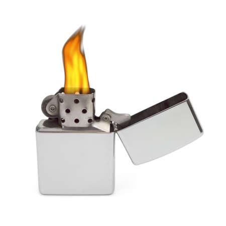 Retro lighter isolated on white background photo
