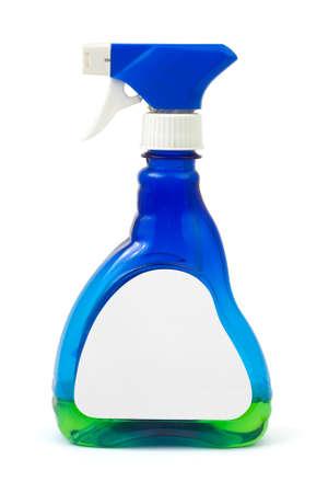 d�sinfectant: Spray bouteille vide avec �tiquette isol�e sur fond blanc
