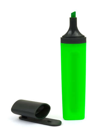 Green marker and cap isolated on white background photo