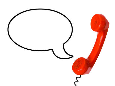 cable telefono: Tel�fono receptor y el discurso burbuja aislado en el fondo blanco