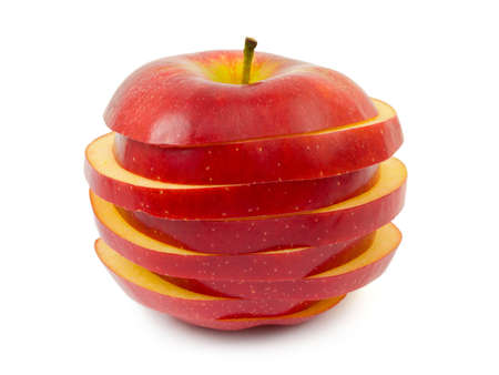 sliced apple: Sliced apple isolated on white background Stock Photo