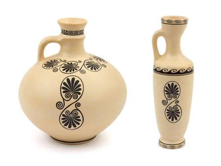 greek pottery: Two retro vases isolated on white background Stock Photo