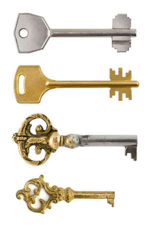 set of keys: Collection of retro keys isolated on white background