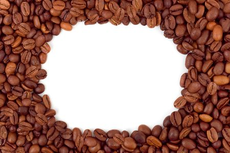 Frame made of coffee isolated on white background photo