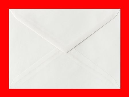 Letter envelope isolated on red background photo