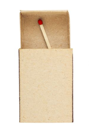 Matchbox and last match isolated on white background photo