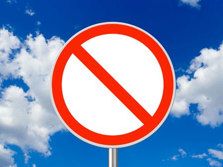 interdict: Circle traffic sign, sky on background