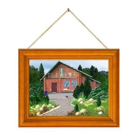 Painted house (my picture) in frame isolated on white background Stock Photo - 4098754