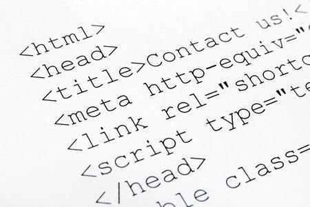 Printed internet html code, technology background photo