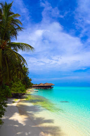 Water bungalows on a tropical island, travel background photo