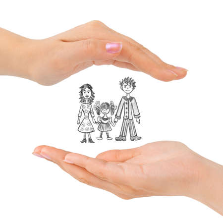 Cupped hands and family isolated on white background photo