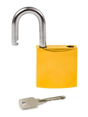 Opened lock and key isolated on white background Stock Photo - 5492646