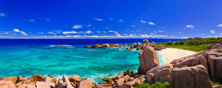 Panorama of tropical beach at Seychelles - nature background Stock Photo - 7169209