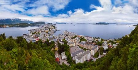 alesund: Panorama of Alesund Norway - nature and architecture background
