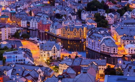 Cityscape of Alesund Norway - architecture background photo