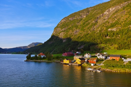 Town Sogndal and fjord in Norway - nature and travel background photo